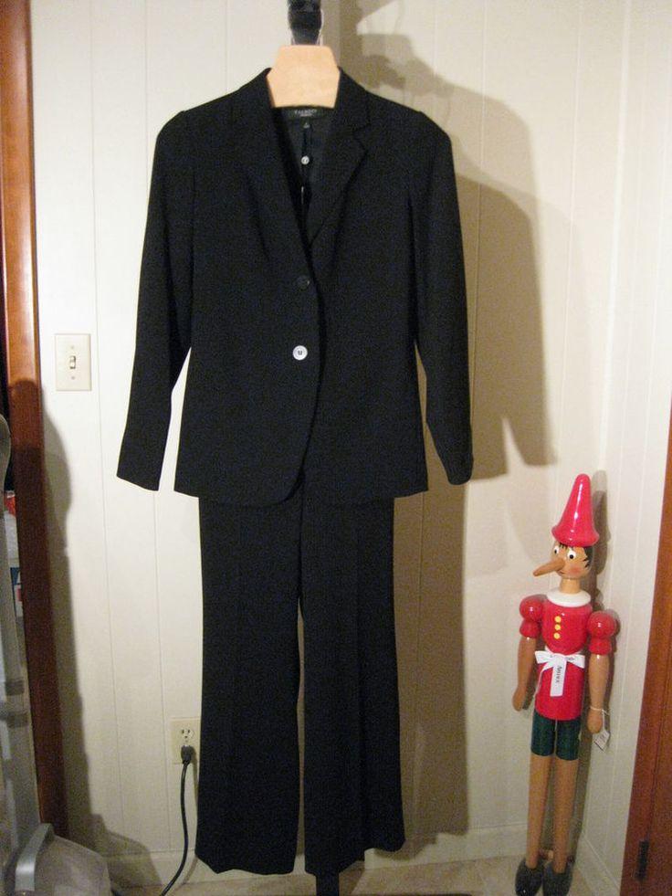 MISSES BLACK CREPE 2 PC PANT SUIT TALBOTS 2 $318 #Talbots #PantSuit