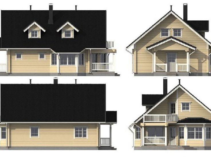 Entwurfsplanung Modernes Blockhaus auf zwei Ebenen. (mit