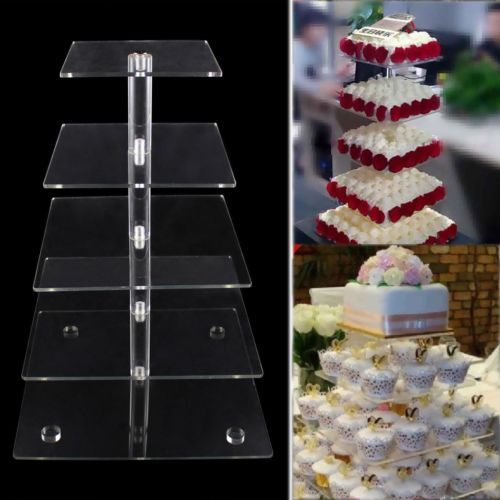 3-7 Tier Crystal Clear Square Acrylic Cupcake Tower Stand Wedding Birthday Decor in Home & Garden,Wedding Supplies,Wedding Cake Stands & Plates | eBay
