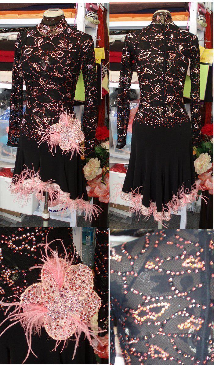 黒のストレッチレース&ピーチ色のレース使いのハイネック長袖のラテンドレス (価格修正&レンタル可)   Atelier Casablanca -ダンスドレスの部屋- - 楽天ブログ