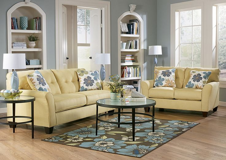 Furniture Outlet | Chicago, IL Kylee Goldenrod Sofa & Loveseat