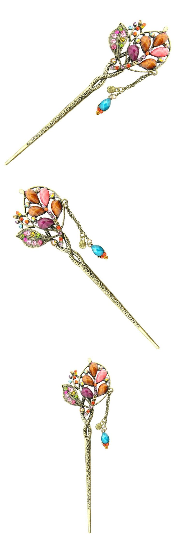 HTHL-Retro Hair Clip / hairpin / Barrette With Fringe in Peacock Form for Woman, rainbow color