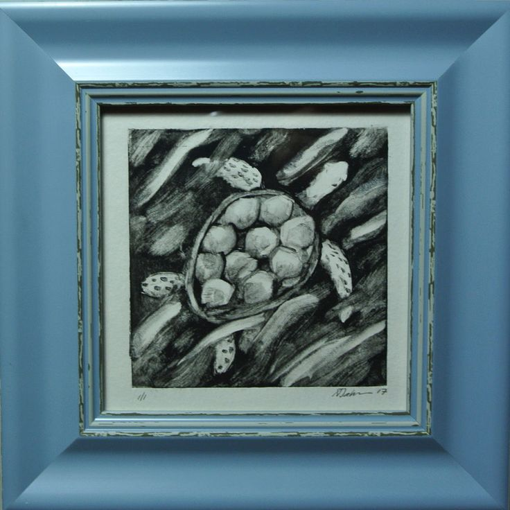 Turtle Swimming Miniature, Print, Framed and Ready to Hang, Monoprint by AJ #Miniature