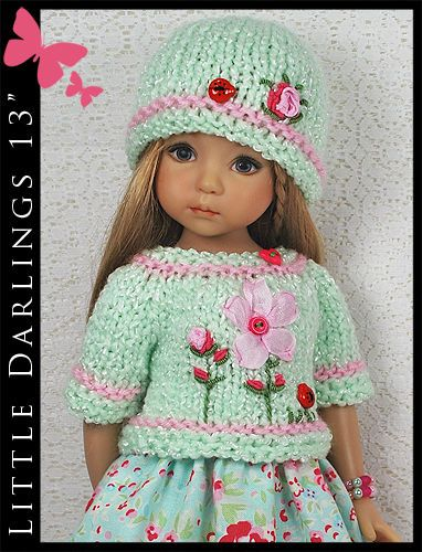 "OOAK Aqua & Pink Outfit for Little Darlings Effner 13"" by Maggie & Kate Create"
