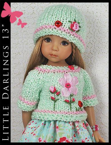 "OOAK Aqua & Pink Outfit for Little Darlings Effner 13"" by Maggie & Kate Create"