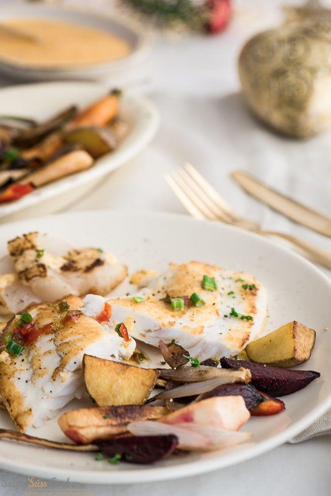 Fisch – Gebratenes Steinbuttfilet mit Rouille – Wurzelgemüse – Birnen-Vinaigrette  —  Menü 3/Hauptgang