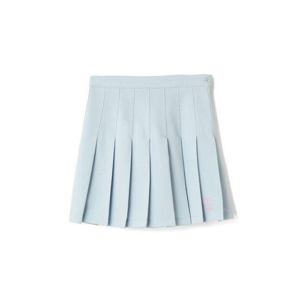 無地プリーツスカート ($40) ❤ liked on Polyvore featuring skirts, bottoms, clothes - skirts, blue skirt and bubble skirt