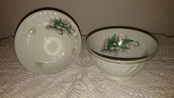 French Antique / 2 bols café au lait à décor de muguet / 2 bowls lily of the…