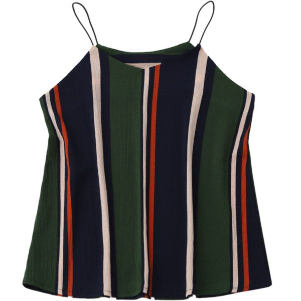 Elastic Straps Striped Tank Top Stripe (28 NZD) ❤ liked on Polyvore featuring tops, stripe top, stripe tank, striped tank top, striped tops and striped tank