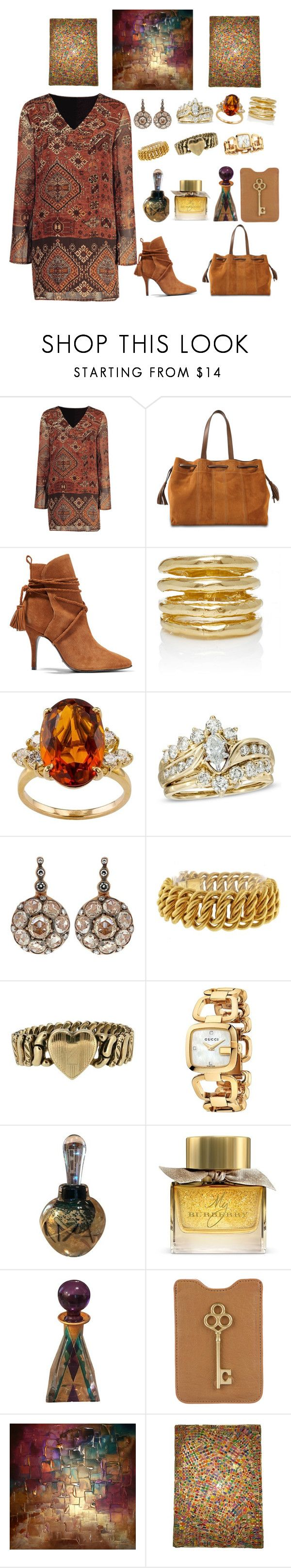 """""""Untitled #1630"""" by dkerbyg ❤ liked on Polyvore featuring Gérard Darel, Schutz, Wasson, Selim Mouzannar, Buccellati, Gucci, Burberry and Jonathan Adler"""