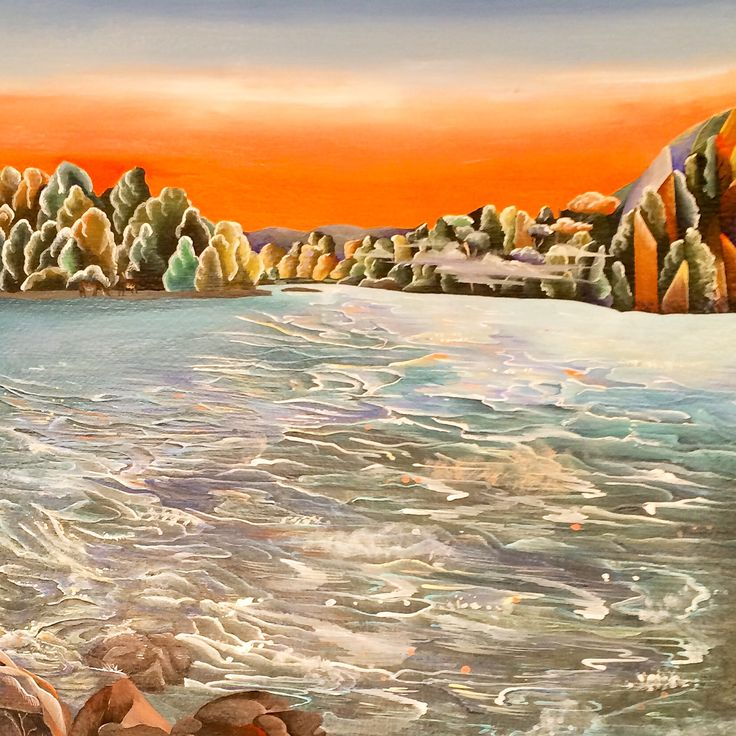 """""""Something in the Water"""" Pohangina River, Totara Reserve, Manawatu, NEW ZEALAND By Tammie Riddle, 2015, Acrylic on Board, 20cm x 45cm. For SALE : $900.00 NZD (Free Postage) all enquires welcome, trose.artist@yaho... or check out www.tammieriddlea... for more details. The Pohangina River has its source on the western flank of the Ruahine Ranges and flows southward to join the Manawatu River at Ashhurst. It is one of the best and most accessible remaining examples of the ancient forest."""