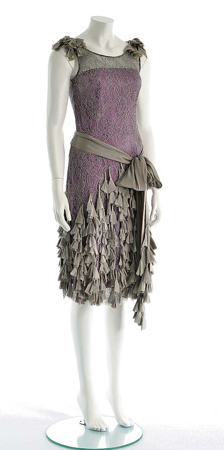 The Great Gatsby - Flapper dress worn by Carey Mulligan, as Daisy Buchanan -  Lacework by Jean-Claude Pluchart - Costume design by Catherine Martin