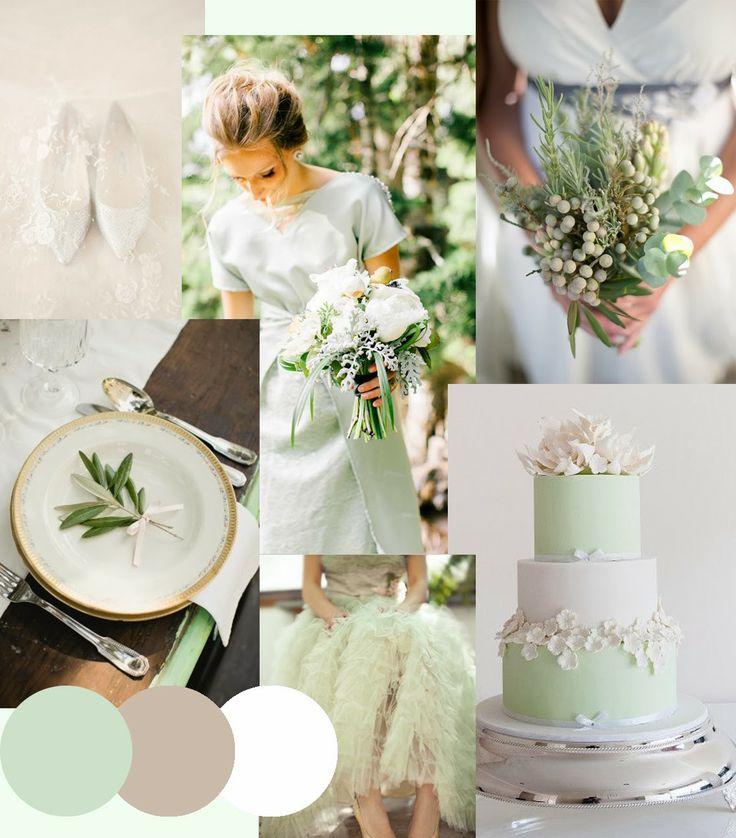 Powder Green & White Wedding Inspiration Board from http://knotsandkisses.blogspot.com