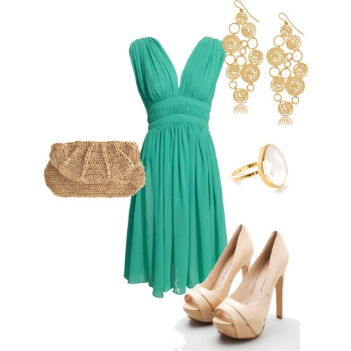 Turquoise date night - love the dress, shoes, earrings, and ring... hmm... <3