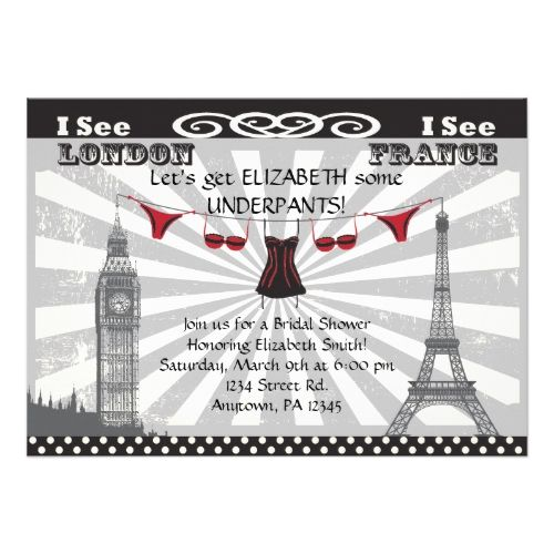 Black with Red Bridal Shower Invitations
