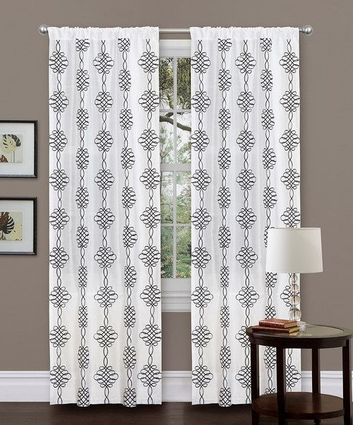 White Isabella Curtain Panel Curtain Panels Black Ribbon And Geometric Designs