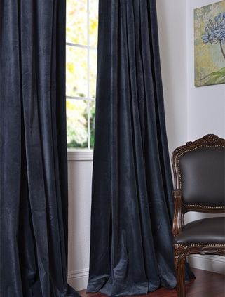 Moroccan blue velvet drapes for living room