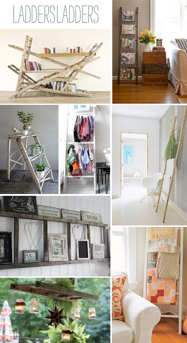 DIY projects with ladders. Love these. -Staffelli