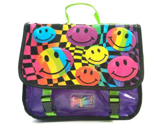 Vintage Lisa Frank Rainbow Smiley Faces Backpack / Messenger Bag