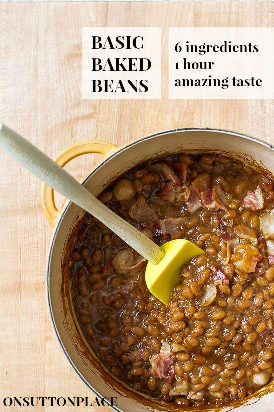 6 ingredients is all you need to make these quick and easy baked beans. Basic but delicious!