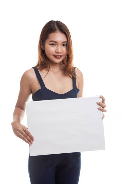 young asian woman with white blank sign