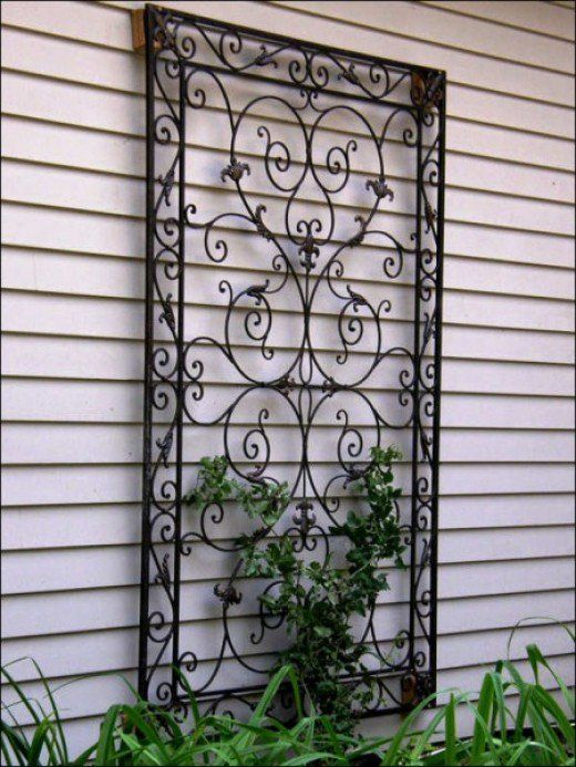 Wood trellis wall decor
