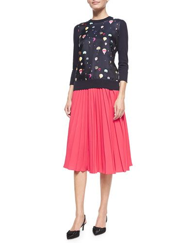 -5D8F kate spade new york 3/4-sleeve sweater with balloon front & accordion-pleated midi skirt