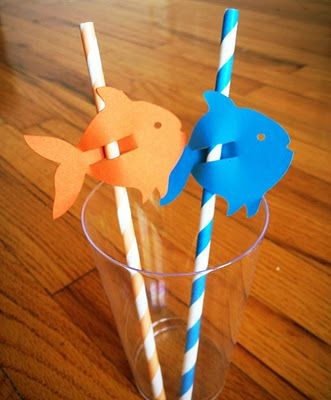 fish straw decorations-attach to the front of  a juice box for a party- kids can put it on their own straw