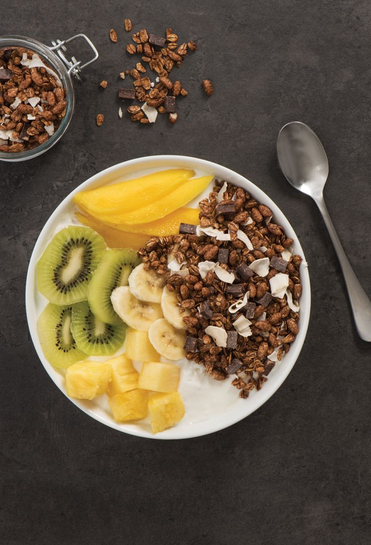 TROPICAL YOGURT BOWLS ______________________ Special K Nourish™ Granola Dark Chocolate & Coconut + yogurt + banana + mango + pineapple + kiwi