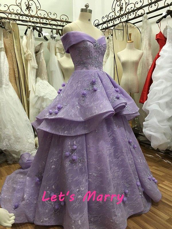 Фабрика роскошный бальные платья фиолетовый свадебные платья 2016 3D цветы многоуровневое line оборками складки свадебные платья с молния вверхкупить в магазине Let's MarryнаAliExpress