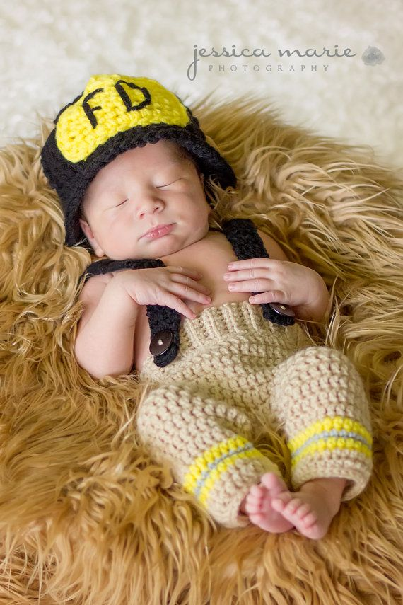 Little Firefighter Newborn Set  Includes Crochet by TwittleMonkeys, $40.00