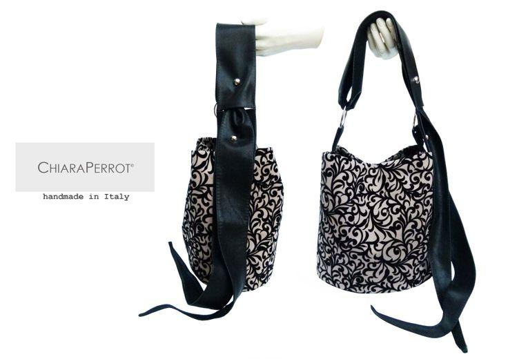 "Bucket Bag__flocca13 fabrics ""floccato"" & leather Handmade in Italy"