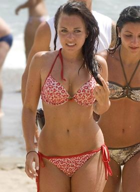 Louisa Lytton wearing Cherry Pie Gel Bikini Set - Red/White