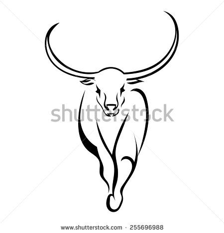 Frontal bull walking isolated on white background. Vector illustration.