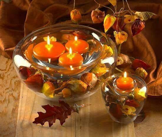 Autumn table centre pieces. Orange, red and brown.