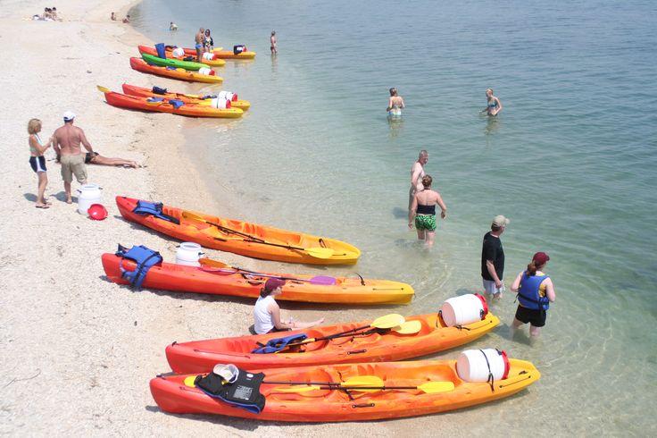 Swimming break on a kayaking tour in Trogir near Split, Croatia