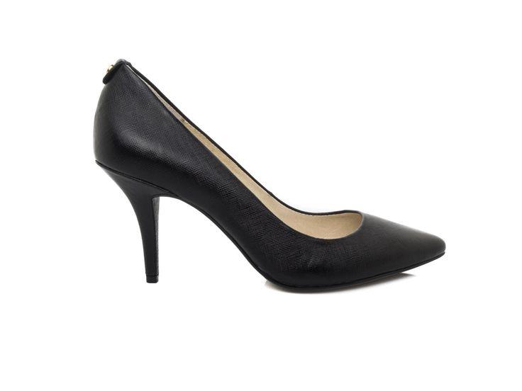 MICHAEL KORS - Saffiano leather décollété medium heels - Black - Elsa-boutique.it <3 #MK #MichaelKors #Kors