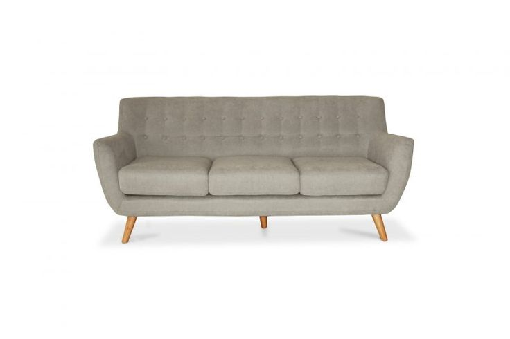 Buttoned 3-Seater SofaContemporary, Nordic-style triple-seater in grey felt, with beech wood feet.Available in: light grey.See also: 2-seater option - Jimbo 2.Size: L*W*H: 186*83*83