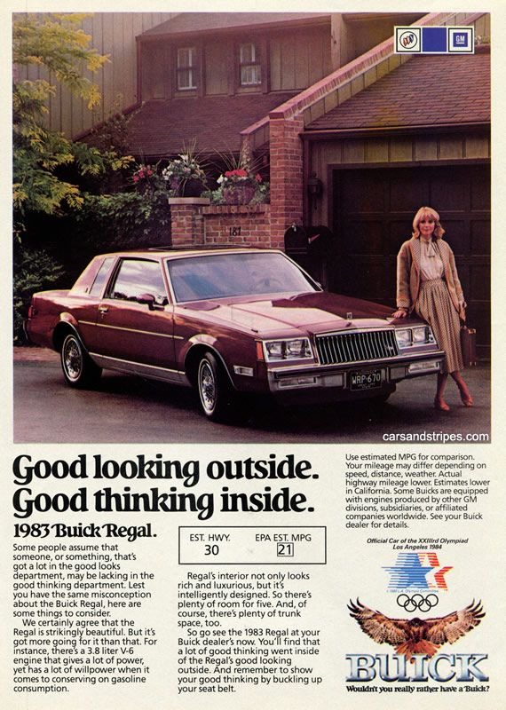 1983 Buick Regal - Good looking outside. Good thinking inside - Original Ad