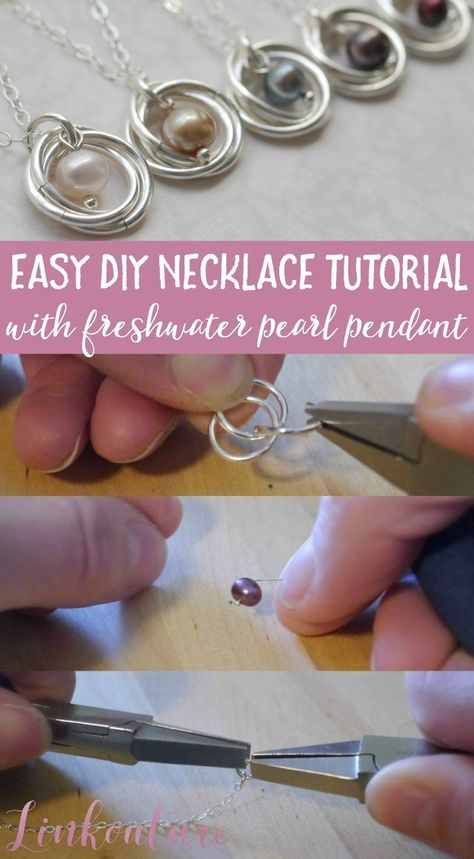 Learn how to make your very own pearl and spiral pendant necklace with this easy diy jewelry tutorial. These necklaces are very delicate and feminine and make for the perfect wedding jewelry or gift idea. It is a great jewelry tutorial for advanced beginners!