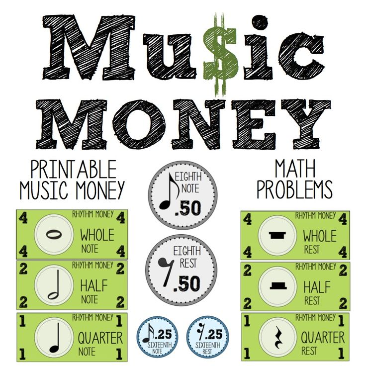 Printable money with notes and rests, along with math connection worksheets!  http://www.teacherspayteachers.com/Product/Music-Money-Printable-Music-Money-Math-Connection-Worksheets-860631