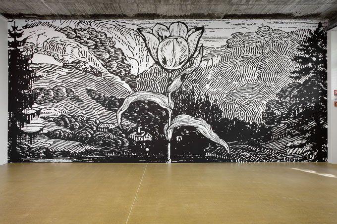 Wall murals by London-based artist Paul Morrison.