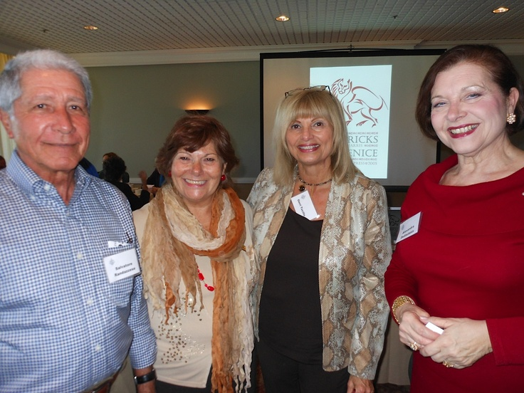 Salvatore Randazzese, Silvana Wriston & Gerri Tuccillo with Sarasota Sister Cities City Director for relationships with Treviso Province at Sara Bay Country Club on Feb 1, 2013.  They were attending the Bricks  of Venice presentation by Fran Harris about the architecture of historic Venice, Italy - the capitol city of Treviso Province.