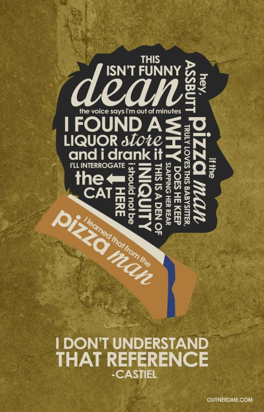 SuperNatural Castiel Inspired Quote Poster by OutNerdMe on Etsy