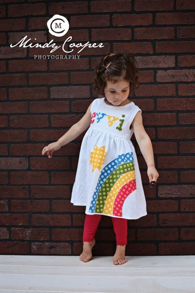 Rainbow Dress - Spring Dress- Personalized Dress- You Choose Dress Color and Sleeve Length. $33.00, via Etsy.