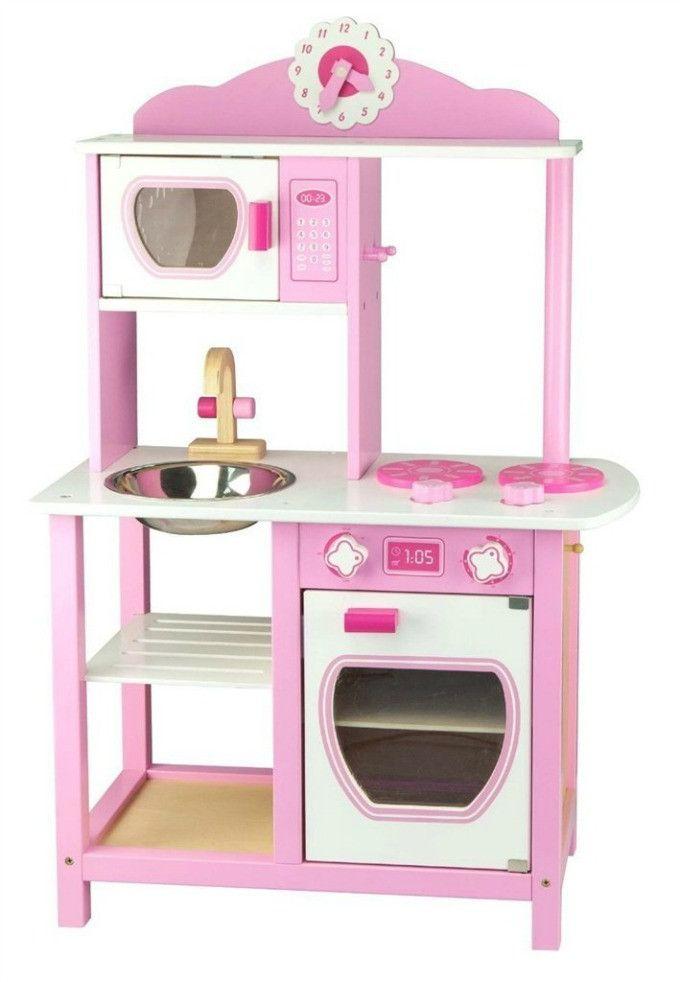 Wooden Play Kitchen, Pink