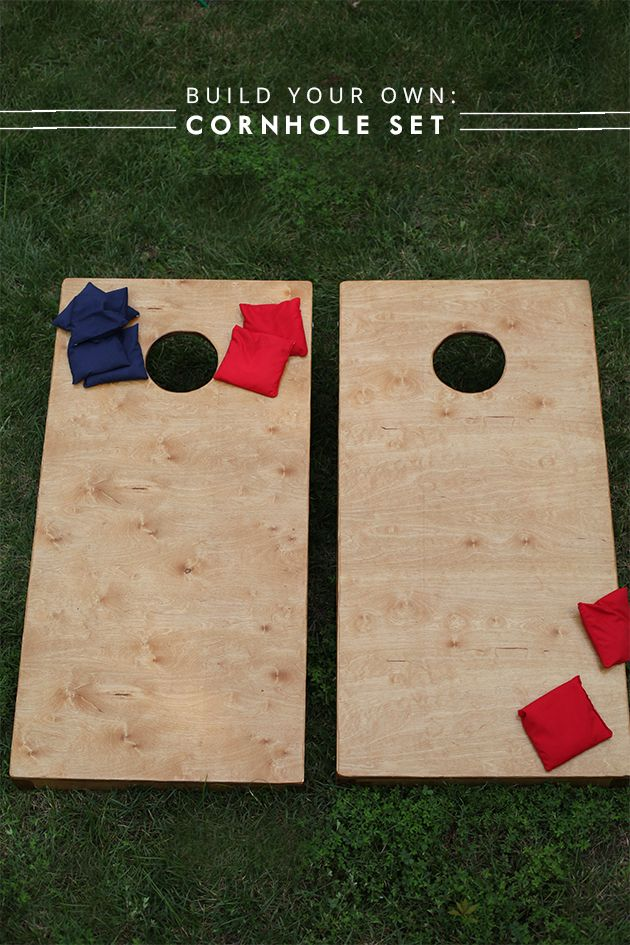 Easy instructions and step by step tutorial for a DIY Wooden Cornhole Set. Swinging legs for storage, and a custom engrave option.