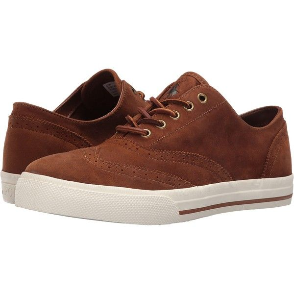 Polo Ralph Lauren Vultan (New Snuff) Men's Shoes (€41) ❤ liked on Polyvore featuring men's fashion, men's shoes, men's sneakers, brown, mens round toe dress shoes, mens brown wingtip shoes, mens shoes, polo ralph lauren mens sneakers and mens wing tip shoes