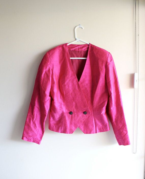 Vintage 80s Handmade Jacket // Hot Pink Blazer // 80's jacket // 1980s Cocktail Jacket