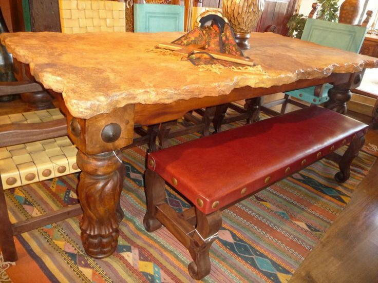Broken Edge Travertine Table W/ Mesquite Legs From The Rustic Gallery  #diningroom #table